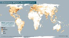 Map of Coursera MOOC participants, determined by IP address