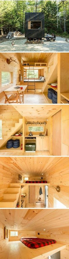Tiny House And Small Space Living. All natural wood interior. Two story tiny house. Amazing modern interior in the rustic outdoors.