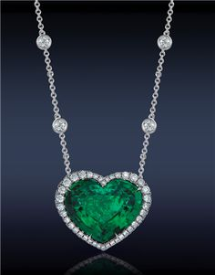 Heart Emerald & Diamond Pendant by Jacob and Co. And my birthstone to boot! Heart Jewelry, I Love Jewelry, Jewelry Gifts, Fine Jewelry, Jewelry Necklaces, Jewelry Design, Bracelets, Jewellery, Emerald Jewelry
