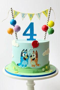 Sweet Birthday Cake, 4th Birthday Cakes, 1st Boy Birthday, 2nd Birthday Parties, Birthday Ideas, Bingo Cake, Bolo Minnie, Balloon Cake, Cakes For Boys