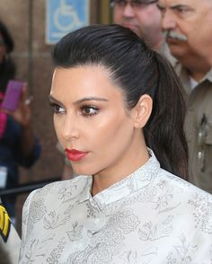 Kim Kardashian Ponytail - Kim Kardashian looked sleek and sophisticated at her divorce hearing where she sported a high ponytail.