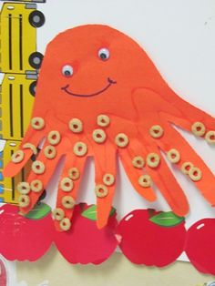 O is for Octopus in preschool - I love the use of Cheerios to make the suckers on the octopus tentacles :)