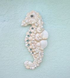 Seahorse Art Wall Hanging Seashells by SandisShellscapes on Etsy, $75.00