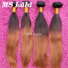 Straight Brazilian Ombre hair extensions 3pcs lot Silky straight No tangle No shedding Free Shipping DHL Queen hair Products-in Hair Weaves ...