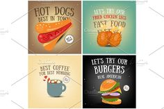 Coffee, Fast Food, Ice Cream Posters by elfivetrov on @creativemarket