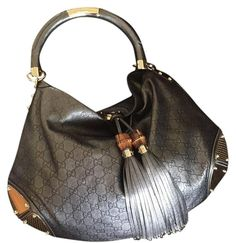 2c153a373ae Gucci Indy Guccissima Large Gun Mental Leather Hobo Bag 58% off retail