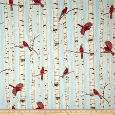 Woodsy Winter Metallic Cardinals in Trees Aqua/Silver from @fabricdotcom From Hoffman California International Fabric, this cotton print fabric is perfect for quilting, apparel and home decor accents. Colors include red, brown, tan, cream and aqua. Features silver metallic accents throughout.