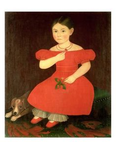 Portrait of a Girl in a Red Dress Giclee Print by Phillips at Art.com