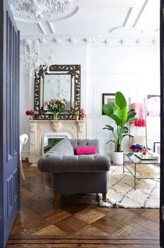 Dramatic Decor in a Traditional Brooklyn Brownstone — House Tour living room edwardian victorian georgian mirror fireplace antique Decoration Inspiration, Decoration Design, Interior Design Inspiration, Decor Ideas, Room Ideas, Decorating Ideas, Design Ideas, Design Projects, Style Inspiration