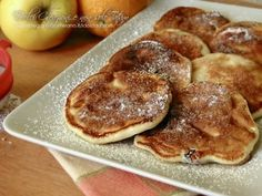 Light pancakes with apples and cranberries