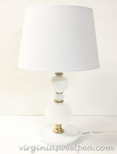 Milk Glass Lamp Makeover - Sweet Pea - Milk Glass Lamp Makeover for Thrift Beneft - Lamp Redo, Lamp Makeover, Funky Lamps, Milk Glass Lamp, Thrift Store Crafts, Thrift Stores, Repurposed Furniture, Furniture Redo, Bedroom Furniture