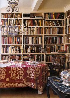 Bohemian home: Bookshelves and Suzani throw