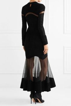 Alexander McQueen - Mesh-paneled Fleece Midi Dress - Black