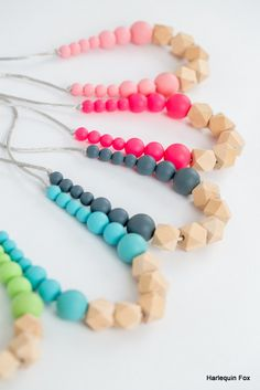 Wooden Geo & Silicone Teething Necklace SLATE by HarlequinFox