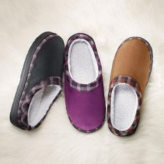 Comfort your feet after a long day of walking with Memory Foam Check It Out Unisex Slipper!  Memory Foam insole cradles your foot for maximum comfort. His and hers fleece-lined slip-on slippers with a pop of plaid trim. Regularly $14.99, shop Avon Fashion online at http://eseagren.avonrepresentative.com