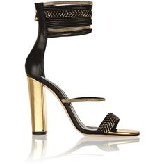 Balmain Leather sandals ($684) ❤ liked on Polyvore featuring shoes, sandals, balmain, heels, black, heeled sandals, high heel sandals, black shoes, black high heel sandals and leather sandals