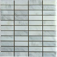 Stacked 1x3 Arabescato Carrara Marble Mosaic - modern - tile - other metro - StoneLocator