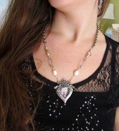 vintage repurposed jewelry necklace heart locket by atelierparis