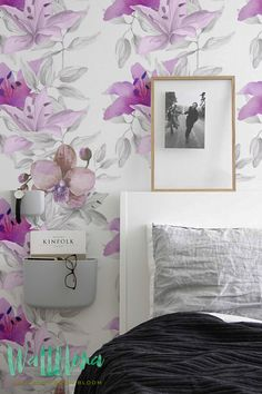 Lily Pattern Removable Wallpaper Watercolor Wallpaper