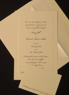 Elegant Ivory wedding invitation with black ink. INVITATIONSBYMARCY.com Ivory Wedding Invitations, Bar Mitzvah Invitations, Addressing Envelopes, Bat Mitzvah, Letterpress, Save The Date, Stationery, Cards Against Humanity, Ink