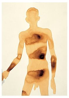 TAKE CARE, 1995 Burnt chicory on paper 41 x 29 cm Antony Gormley