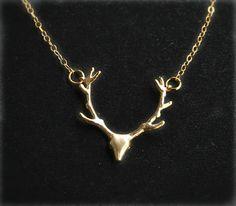 Gold Deer Necklace Antler Deer Necklace Antler by smilesophie