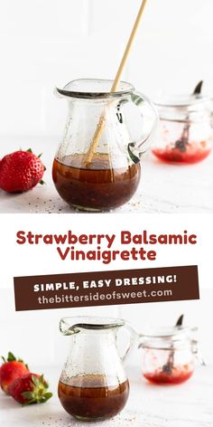 Easy homemade Strawberry Balsamic Vinaigrette! This easy dressing goes perfectly on any salad and it's customizable with any fruit jam!   The Bitter Side of Sweet Easy Appetizer Recipes, Easy Snacks, Brunch Recipes, Sweet Recipes, Fresh Salad Recipes, Healthy Salad Recipes, Strawberry Balsamic, Strawberry Recipes, Best Side Dishes