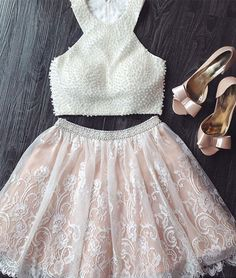 White Lace Two Pieces Beaded Prom Dress,Cute Homecoming Dress,MB 342