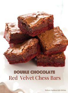 These Double Chocolate Red Velvet Chess Bars are rich and fudgy turning a cake mix hack into an unforgettable all occasion dessert. Pecan Desserts, Fun Desserts, Dessert Recipes, Bar Recipes, Healthy Desserts, Dessert Ideas, Chess Bars, Healthy Fudge, Red Velvet Brownies