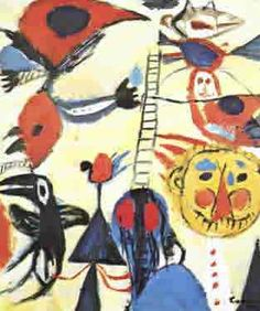 Constant Nieuwenhuys, Het laddertje (The Ladder), oil on canvas, x cm Amsterdam, Abstract Art Images, Cobra Art, Graffiti Painting, Group Art, Ap Art, First Art, Naive Art, Global Art