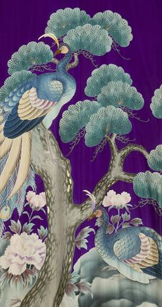 Asian Art Detail from a silk wedding kimono (uchikake) , circa 1900, Japan. Techniques involved: yuzen-dyeing painting, with embroidery highlights. Image via Pinterest