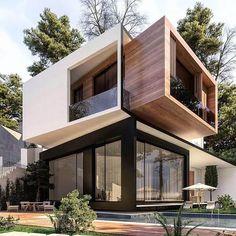 40 Super Top Architecture House Designs - Engineering Discoveries Architecture Design, Modern Architecture House, Amazing Architecture, Modern Exterior, Exterior Design, Modern House Facades, Contemporary Home Exteriors, Unique House Design, Villa Design