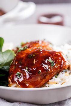 Easy, delicious sticky apricot chicken flavored with a little soy sauce and chilli flakes is a perfect dinner when served with almond and lemon pilaf rice.