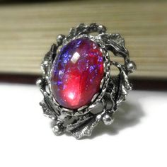 Gothic Fire Opal Ring Victorian Jewelry Dragons by pink80sgirl