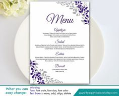 Freebie friday printable menu printable menu menu templates diy printable wedding menu template instant download editable text floral purple lavender 5x7 microsoft word format hbc102 saigontimesfo