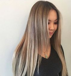 balayage asian long blonde