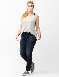 6th & Lane does denim right all year with this hot crop jean. Premium denim offers just the right touch of sexy stretch, with incredible shape retention so it won't sag throughout your day. Soft medium wash denim with whiskering and fading highlights curves in all the right places. Classic 5-pocket style, button & zip fly closure with belt loops.  lanebryant.com