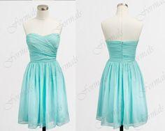 Strapless Sweetheart Short Chiffon Bridesmaid Dresses, Short Prom Dresses, Cocktail Dresses, Wedding Party Dresses
