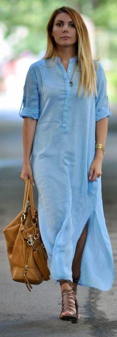 Zara Blue Side Splited Chiffon Maxi Tunic Dress