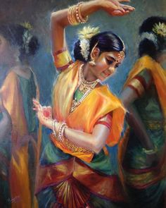 Indian Women Painting, Indian Art Paintings, Indian Artist, Abstract Painting Techniques, Watercolor Paintings For Beginners, Sans Art, Dance Paintings, Exotic Art, Plant Painting
