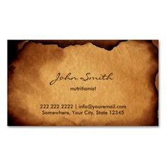 Apple for the teacher business card teacher business cards vintage old burned paper nutrition business card reheart Gallery