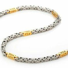 R&B Joyas - Collar hombre, símbolos griegos cadena 53cm, acero inoxidable, color plateado / oro: Amazon.es: Joyería