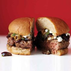 These spiced lamb burgers, topped with eggplant and feta, bring a bit of the Mediterranean to your backyard grilling.