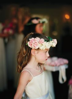 This wears a bold rose floral crown with rosy lips to match! Wedding Bride, Floral Wedding, Wedding Flowers, Dream Wedding, Wedding Wows, Wedding Dreams, Flower Girl Hairstyles, Crown Hairstyles, Wedding Ceremony Backdrop