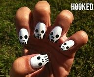 Hooked!: Black  White Badass Nails  Skull design for a Nail Art Contest!
