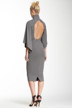 Black & White Geo Print Cutout Dress