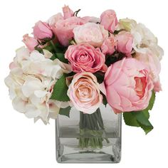 Joss & Main - Brimming with natural appeal, this lovely faux floral arrangement showcases pink roses and hydrangeas in a glass vase.   Product: