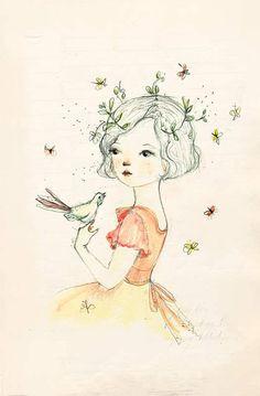 flowers in her hair / bird in hand.