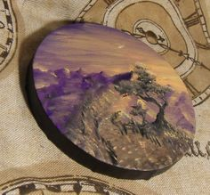 "Sunlit Mountain Path Miniature 5"" Round Oil Painting by Sett Balise, 2014 https://www.etsy.com/listing/191817182/sunlit-mountain-path-miniature-5-oil?"