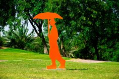 Men With Umbrella.  Painted Metal  Sculpture by Uri Dushy